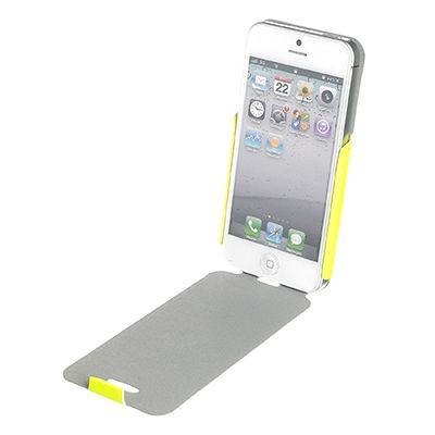 Custodia verticale iFlip Fluosh per iPhone 5 in ecopelle gialla di alta qualità