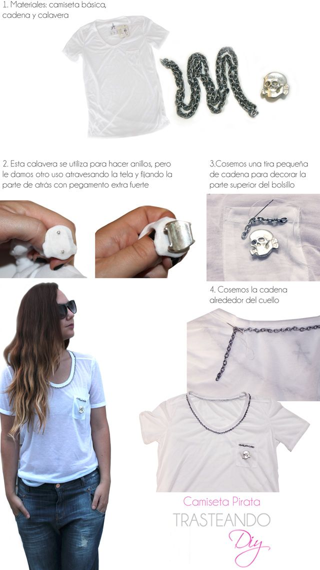 DIY... CAMISETA CON CADENAS Y CALAVERA DIY T-SHIRT: CHAINS AND SKULL