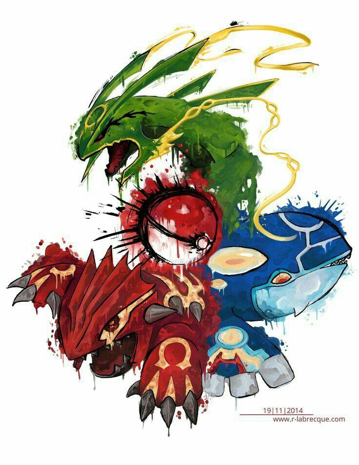 Pokeball, Rayquaza, Groudon, Kyogre, Mega Evolutions, cool, text; Pokémon