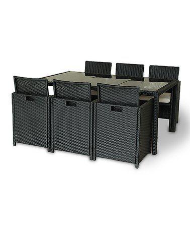 Espresso Seven-Piece Wicker Rattan Outdoor Lounge Set