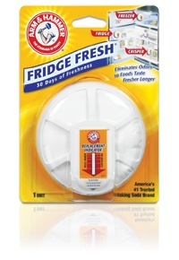 ARM & HAMMER® Fridge Fresh® Refrigerator Air Filter. You can find this for just a couple of dollars at most grocery stores. Peel off the label and you have a subtle white, natural tool to freshen the air. Cheep, green, & free of toxic chemicals, replace air sprays with these in your bathroom, kitchen or laundry hamper for a healthier solution.