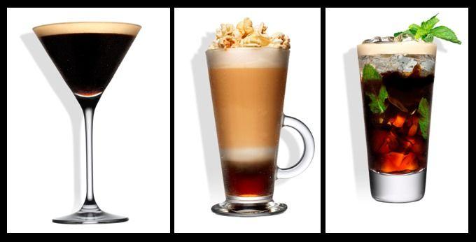 """""""Flate white Russian"""", """"Tia Mint Americano"""",  """"Tia Expresso Martini"""", """"Iced Popcorn Frappé"""", quatro exemplos de que café não casa apenas com uma chávena, também emparelha com um copo de cocktail e com ingredientes criativos."""