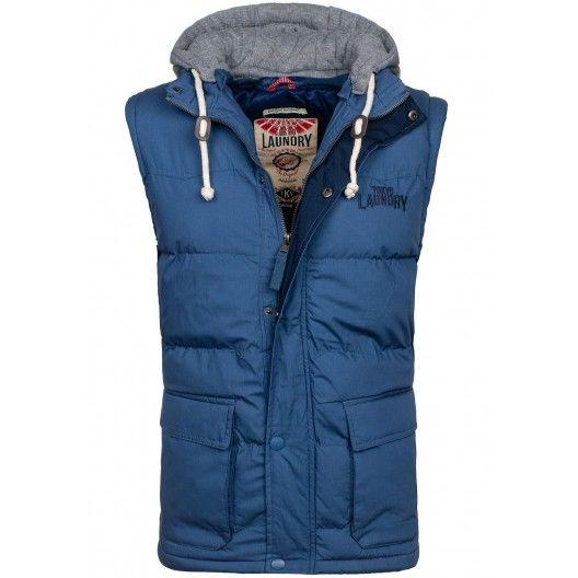Modré pánske vesty s odnímateľnou kapucňou - fashionday.eu