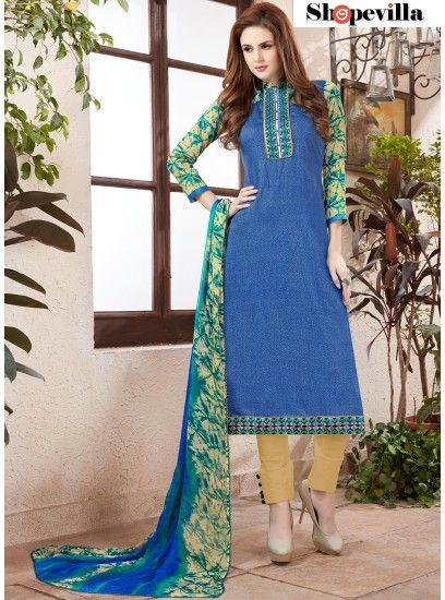Fine Blue Colour Cotton Straight Pant Style Suit-51006