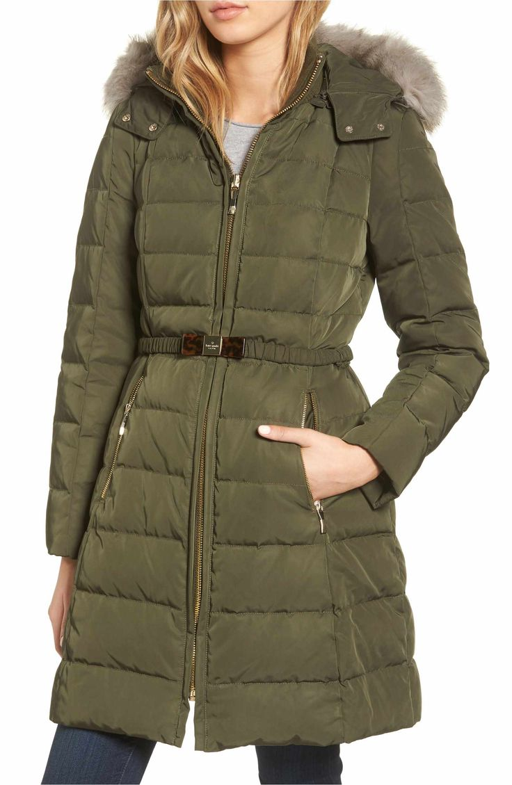 Main Image - kate spade new york water-resistant quilted down coat with detachable faux fur trimmed hood