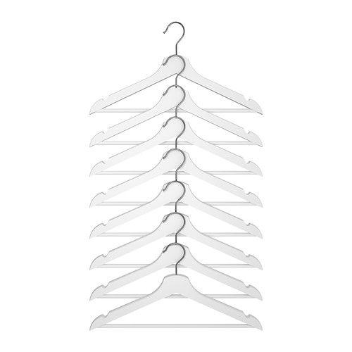 IKEA - BOOMERANG Hanger (wood, white), $4.99 for an 8-pack -- marvelous deal!