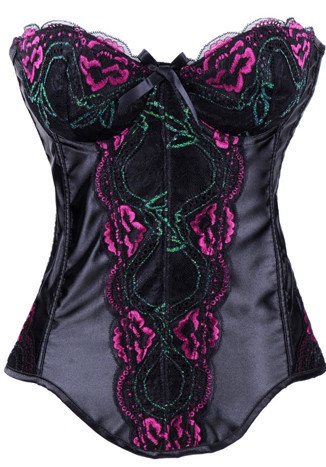 Black Pink Teal Embroidered Corset