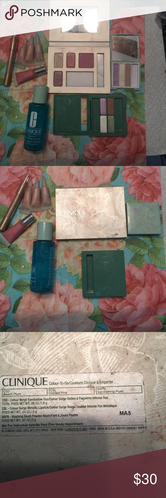 Clinique make up lot Lightly used Clinique make up lot 3 Clinique compacts w eyeshadows and 3 nude sparkle liquid eyeshadows 1 mini lipgloss 1 gold eyeliner/ shadow 1 eye makeup remover Clinique Makeup Eyeshadow