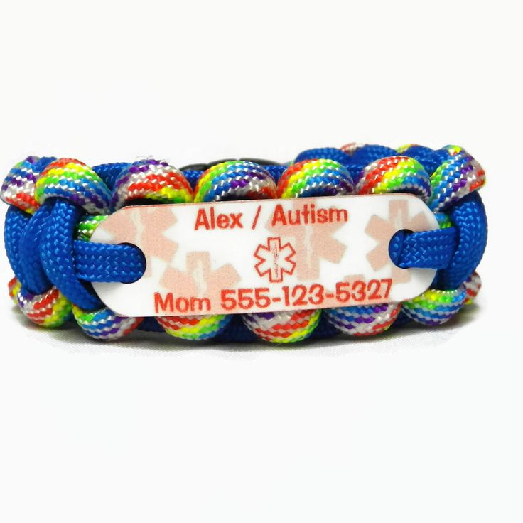 Autism Child's Medical Alert ID bracelet. Our Paracord Alert Bracelets are durable, fashionable, serve a function, and provide you peace of mind with a cool & trendy style. Kids love wearing our brace