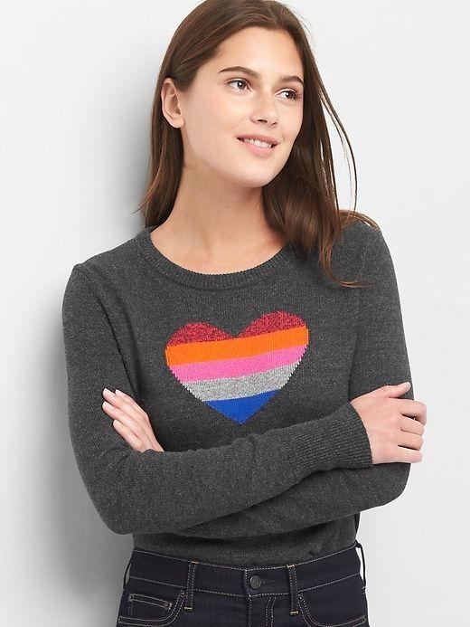 a60416fae Gap Womens Crazy Stripe Heart Crewneck Sweater Grey | Products ...