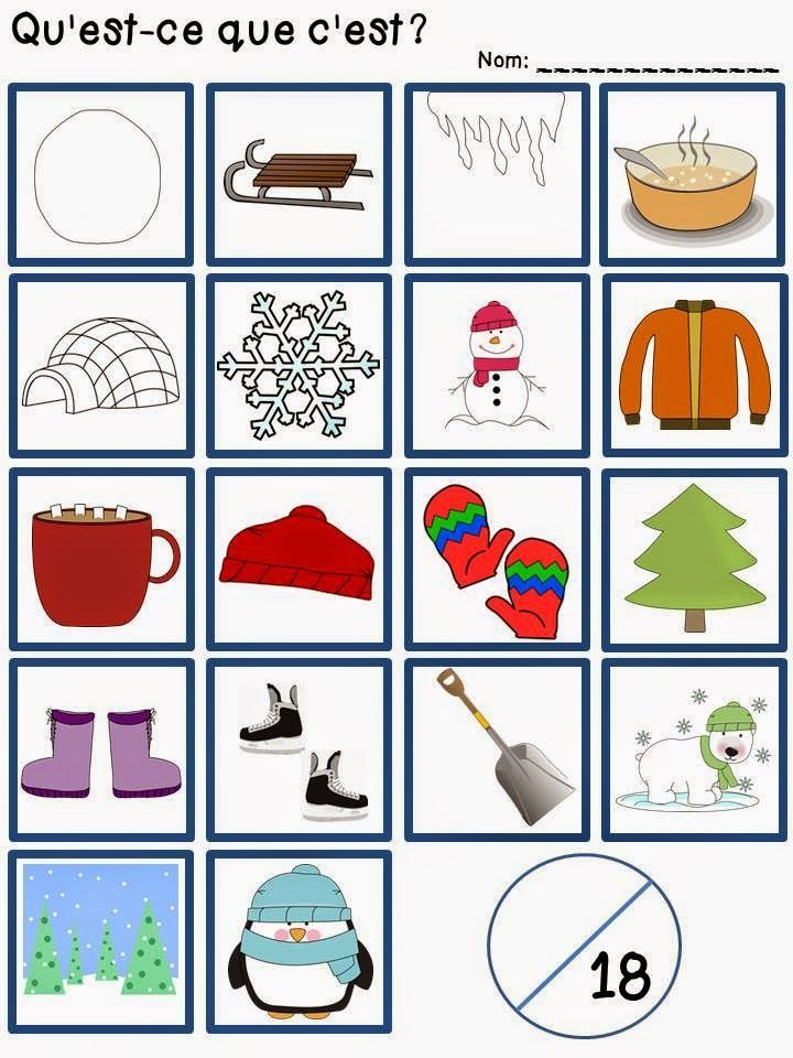 Assessing your students in French Immersion or Core French! Winter vocabulary