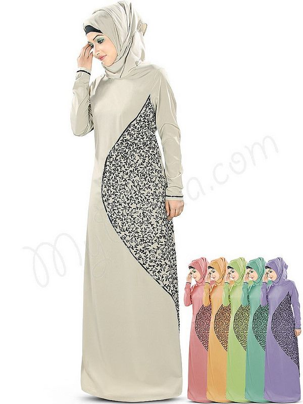Beautiful Embroidered Warm Grey Party Wear Hena #Abaya | #MyBatua.com Style No : AY-346 Price : $58.30 Available Sizes XS to 7XL