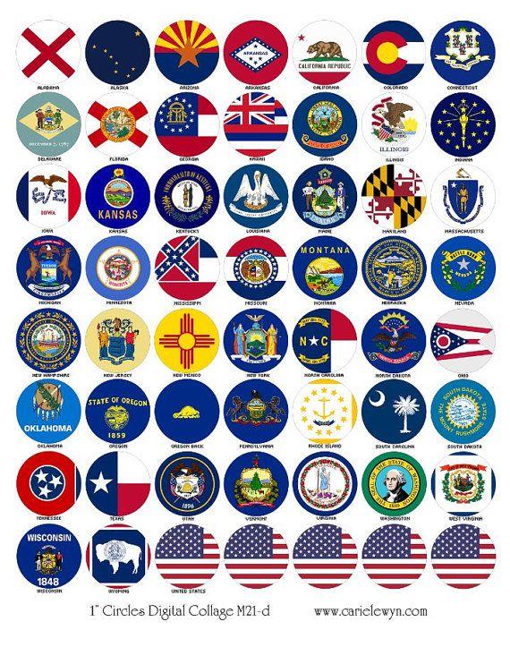 Amerikanische Staaten Flaggen Bottlecap Bilder / USA von carielewyn