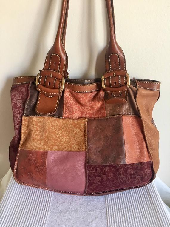 Vintage FOSSIL Patchwork Multicolor Leather Hobo Shoulder Bag ... da98a5632b0f8