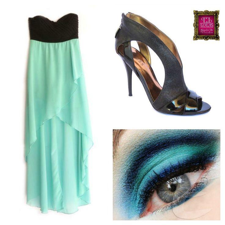¿Te gusta esta combinación? La fusión del azul claro con el negro le brinda un toque juvenil y moderno a tu look. El corte del vestido logra estilizar la silueta. #LolasAlquilerdeVestidos