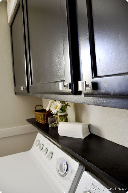 Navy Bean Lane: Black Bathroom & Laundry Room Cabinets Before & After