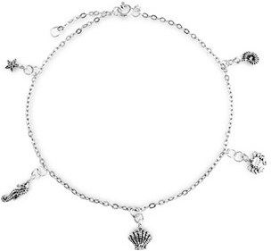 Bling Jewelry Nautical Sea Life Charm Sterling Silver Anklet 9.5 Inch.