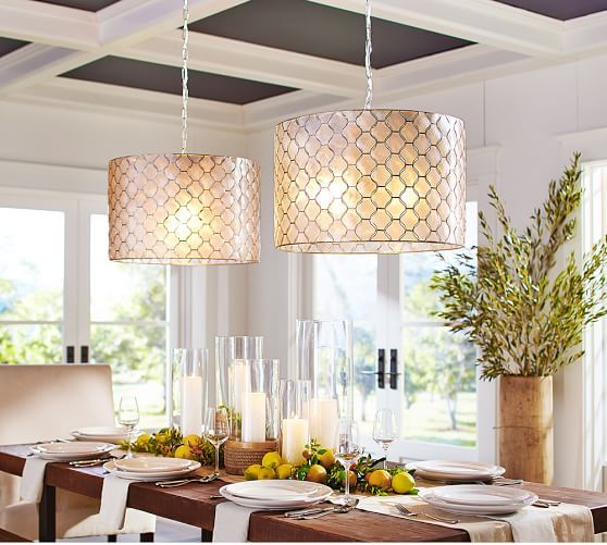 Capiz Drum Pendant | Pottery Barn This Is Super Cool 2 Pendants.But I Think