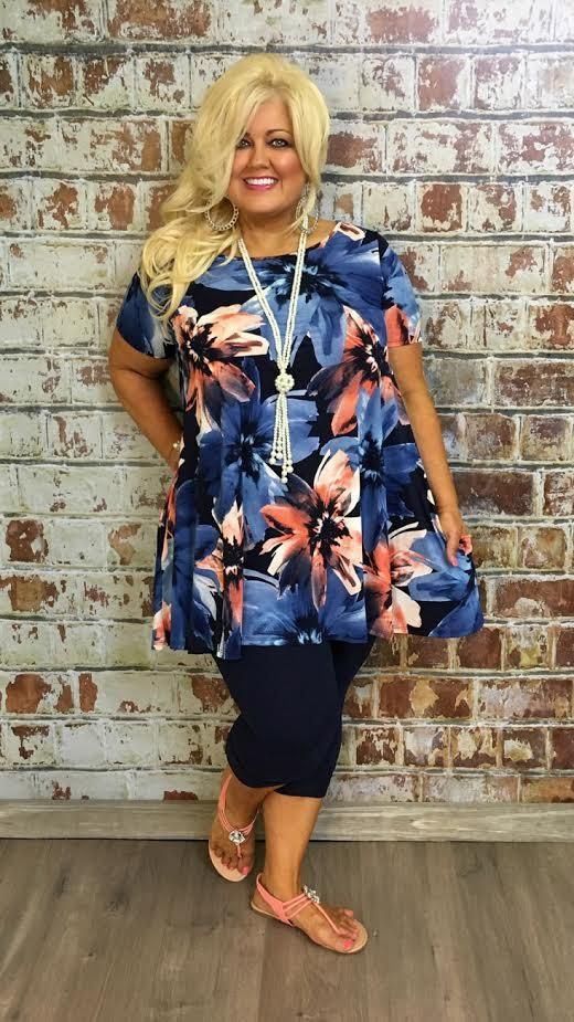 #1-E Blue/Coral Floral Print Short-Sleeve Tunic Dress with Pockets SALE!!