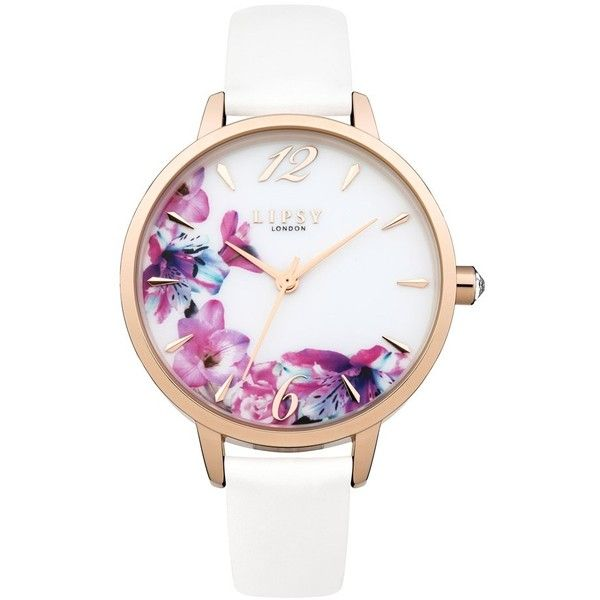 Lipsy Floral Watch found on Polyvore featuring jewelry, watches, white jewelry, analogue watch, golden jewelry, analog watch and golden watches