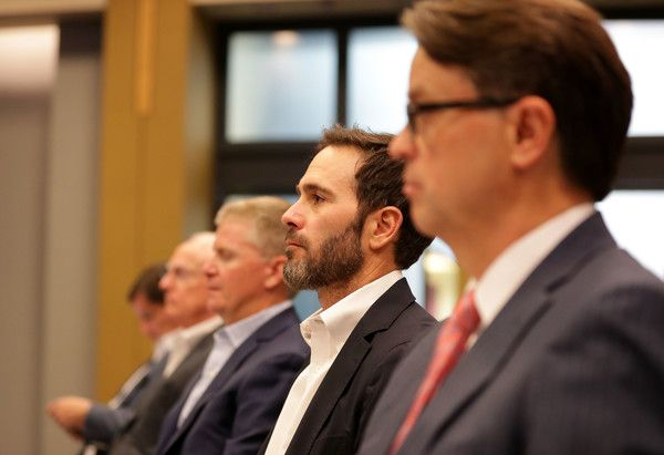 Jimmie Johnson Photos Photos - NASCAR driver Jimmie Johnson watches on during the NASCAR Hall of Fame Voting Day at NASCAR Hall of Fame on May 24, 2017 in Charlotte, North Carolina. - NASCAR Hall of Fame Voting Day
