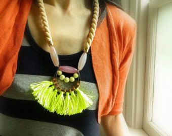 Collar de amatista Collar borla collar cuerda Boho por SakuraPink