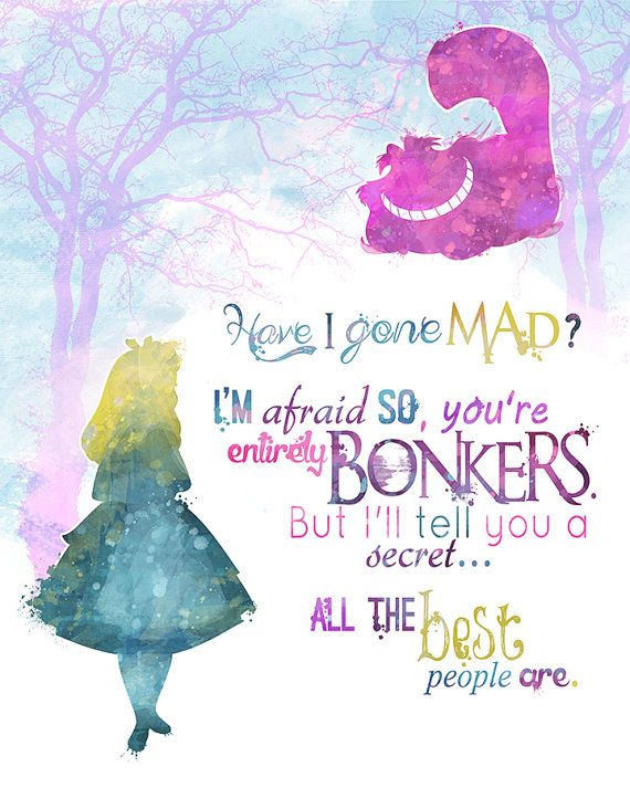 Alice in Wonderland 8×10 Printable Poster – DIGITAL / Instant Download / Cheshire Cat / Wall Art / Home Decor / Quote
