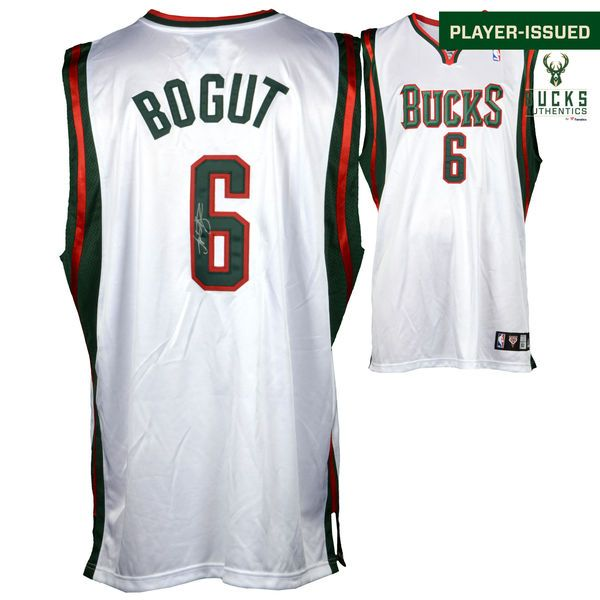 Andrew Bogut Milwaukee Bucks Fanatics Authentic Autographed Player-Issued White #6 Jersey used during the 2008-2009 Season - Size 52 - $499.99