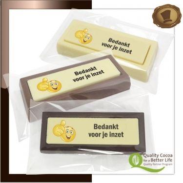 Choco blokken per stuk  Bedankt voor je inzet Lekkere chocolade voorzien van een logo. # chocolade met logo # relatie geschenken # promotie chocolade