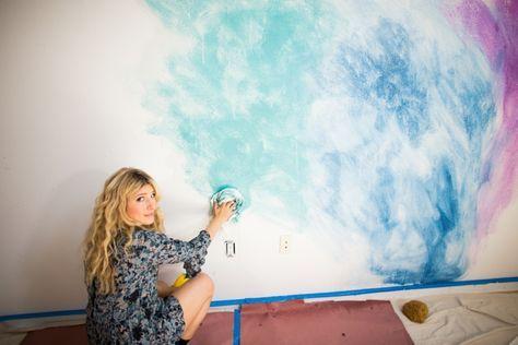 Aquarell Wandfarbe flaches Design Wischer Regenbogen-Look   – wandfarben