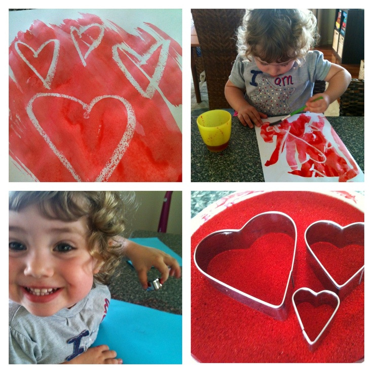 Heart Stamping and Magic Painting (Candle drawing and water colours)