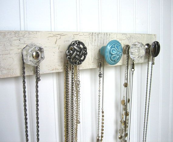Jewelry Holder Necklace Display with Baby Blue Flower Knob on Etsy, $32.00