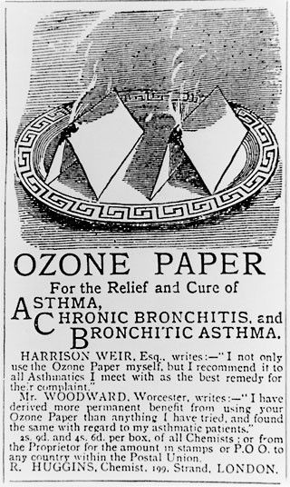 An advert from 1880s which claimed setting fire to this paper and inhaling the smoke would cure and relieve the symptoms of asthma and bronchitis  Picture: SPL / Barcroft Media