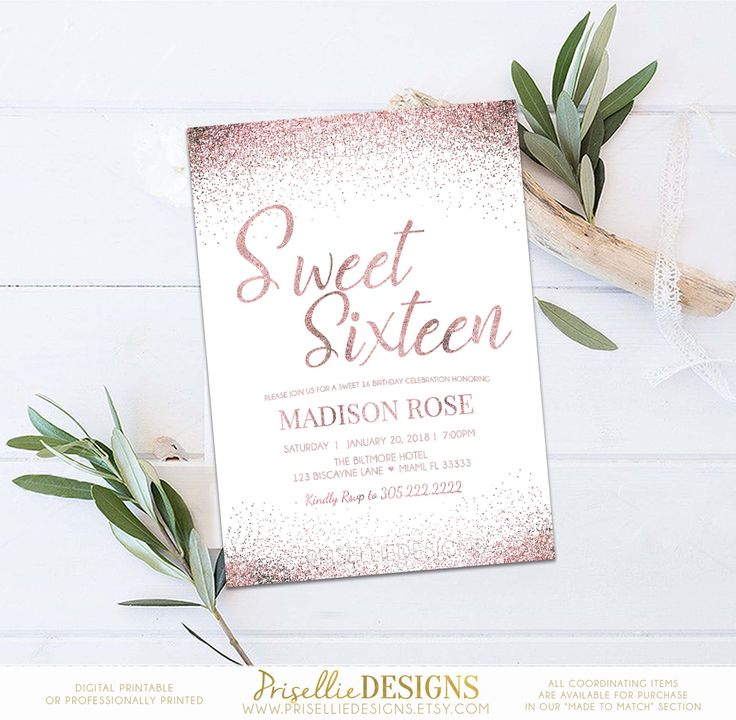 Sweet 16 Invitation, Blush Pink & Gold Sweet 16 Birthday Invitation, Teen Girl Birthday Invitation, Gold Sweet 16 Birthday Printable by PrisellieDesigns on Etsy https://www.etsy.com/listing/567291004/sweet-16-invitation-blush-pink-gold