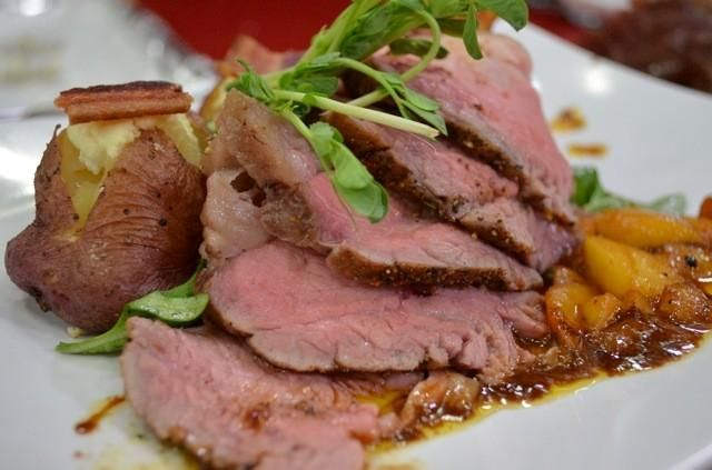 Tri-Tip Steak with Togarashi Dust with Angela's Farm Baby Bakers with Texas Goat Cheese & Pederson's Farm Bacon and a Sweet and Sour Efurd Orchards' Peach Sauce.  http://www.ktxdtv.com/story/25926347/taste-texas-episode-four