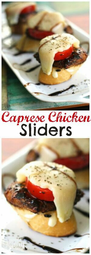 "These Caprese Chicken Sliders are a tasty Italian style appetizer. The grilled chicken is a must! A fun ""fusion"" finger food perfect for any party! via @favfamilyrecipz"