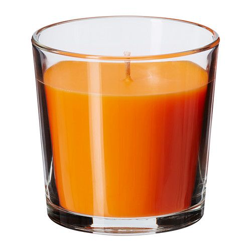 IKEA - SINNLIG, Scented candle in glass, Creates atmosphere with a pleasant scent of tangerine sunshine and warm candlelight.The candle has the same beautiful color during its entire burn time, because it is colored through.You can easily change the look of the candle by putting it in VACKERT decorative holder for candle in glass.When the candle has burned itself out the cup can be used as a tealight holder.