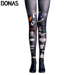 BONAS Black Pantyhose Tights Cat Skull Print Legins Collant High