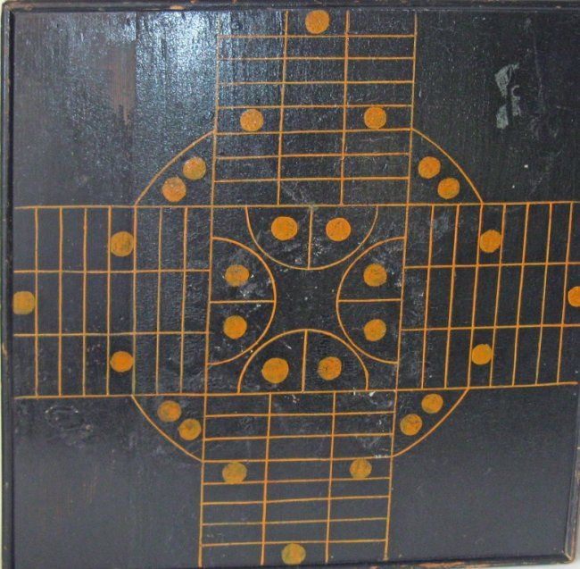Antique black and yellow game board