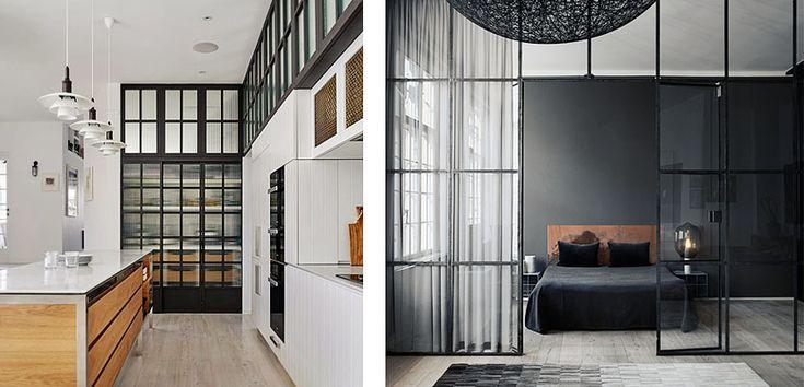 Las paredes acristaladas con cuarterones de metal son una estupenda herramienta para crear nuevos espacios o separar diferentes ambientes en nuestro hogar.