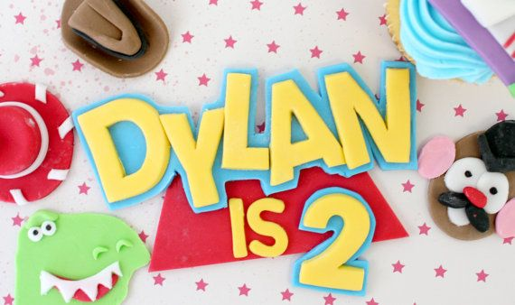 Edible Cake Decorations Numbers : Edible Cake Topper Toy Story name Fondant Cake Topper ...