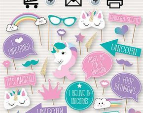 Unicorn Party Printable Photo Booth Props - Unicorn Party Decorations - Unicorn Party props, rainbow party decor - instant download - DIY