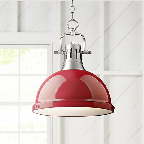 Add a splash of color to your decor with this warm, contemporary pendant light inspired by farmhouse and industrial lighting designs.