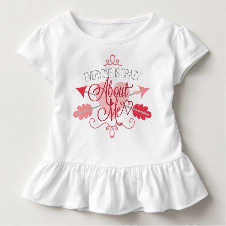 Crazy about me word art toddler ruffled t-shirt - tap, personalize, buy right now!