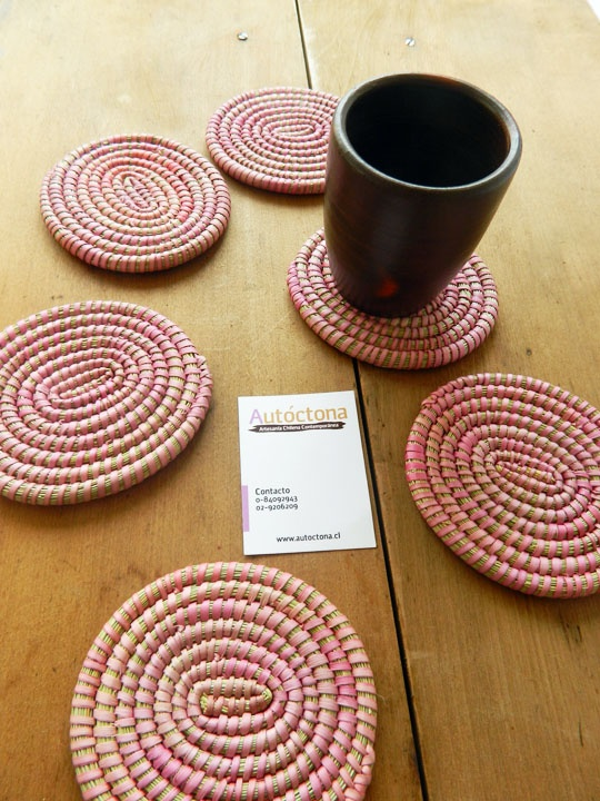 Natural coasters, beetroot tone,#chilean handcraft, www.autoctona.cl