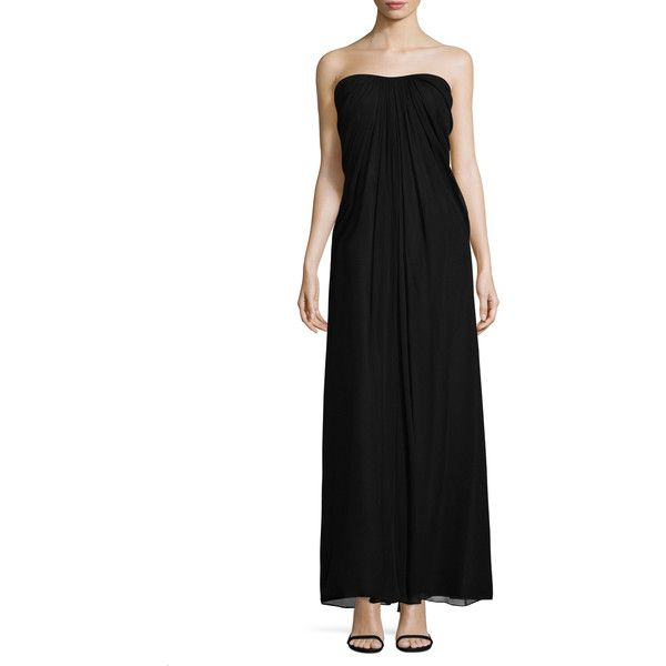 Aidan Mattox Women's Pleated And Draped Gown - Black, Size 0 ($125) ❤ liked on Polyvore featuring dresses, gowns, black, short in front long in back dress, aidan mattox gown, high low evening gowns, aidan mattox dress and sweetheart ball gown