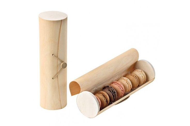 Elegante caja cilíndrica de madera para mácarons take away con capacidad para 7 macarons.