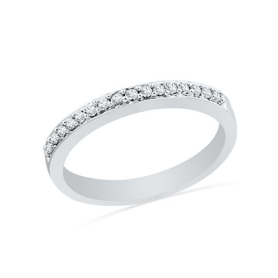 Half Eternity Diamond Wedding Band In 10k White Gold or Sterling Silver, Womens…