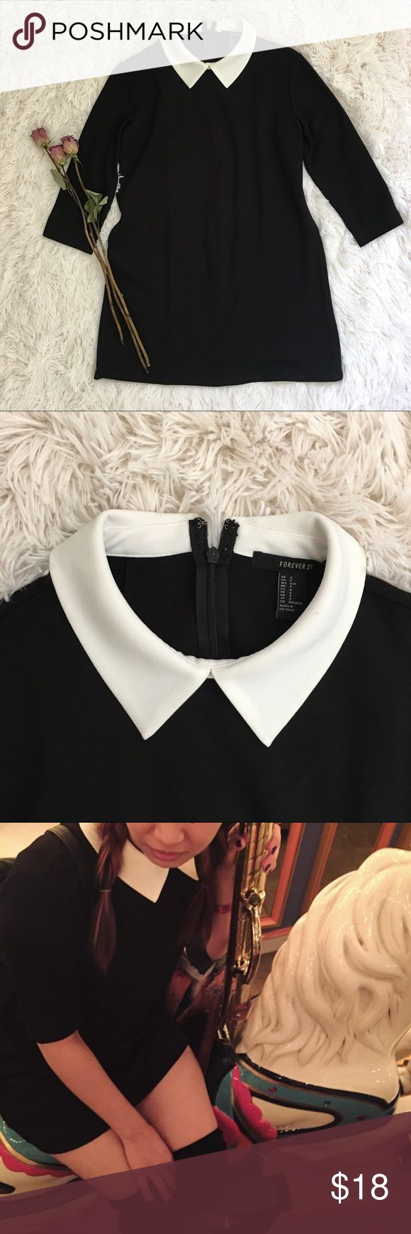"""FOREVER 21 contrast collar dress Embrace your inner minimalist Wednesday Adams with this black and white number. I'm 5"""" and this has been re-hemmed to fit me, message for measurements if desired. Worn once. Fabric is a bit thick (perfect for autumn/winter) so shipping has been adjusted .. bundle and save Forever 21 Dresses Mini"""