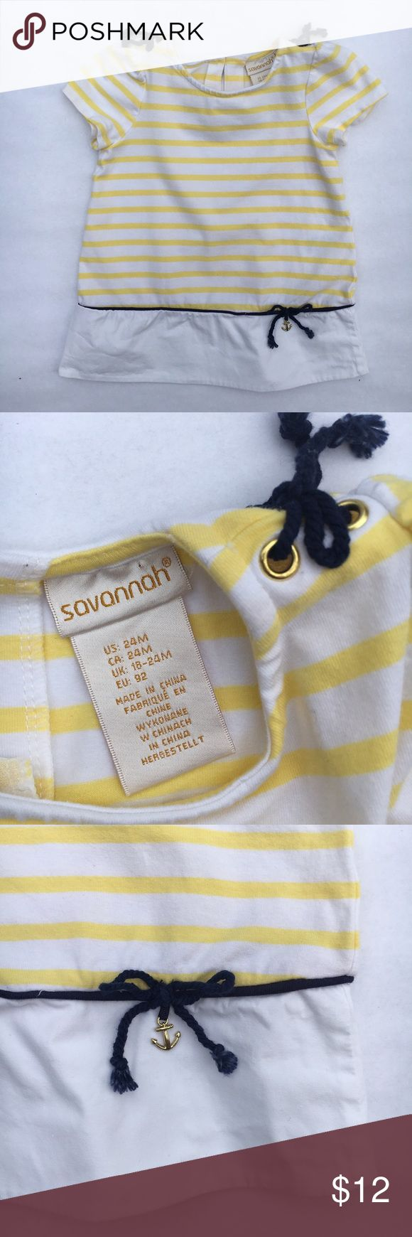 Savannah nautical summer dress Classical Savannah nautical summer dress in yellow and white with navy trim EUC. Minimal signs of wear; no marks, rips, or stains Drop waist with navy bow and anchor detail Navy bows at shoulders  95% cotton, 5% spandex fabric Savannah Dresses
